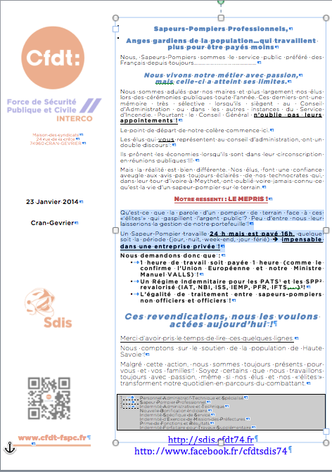 Tract greve 28012014 cfdt pompiers pats - Grille salaire police municipale ...