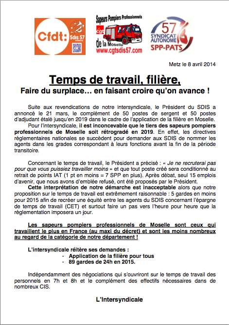 2014 03 30 tract intersyndical 57 entrevue pcasdis cfdt pompiers pats - Grille salaire police municipale ...