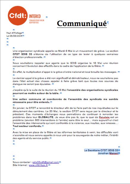 Communiquecfdtsdis33 06052014 cfdt pompiers pats - Grille salaire alliance police ...