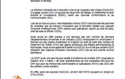 Lettre au ministre pour les emplois de cta codis cfdt - Grille indiciaire chef de service police municipale ...
